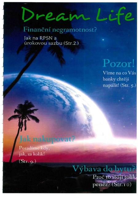 Titulní strana soutěžního časopisu Dream Life 2015