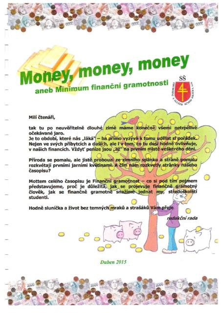 Titulní strana soutěžního časopisu Money, money, money 2015